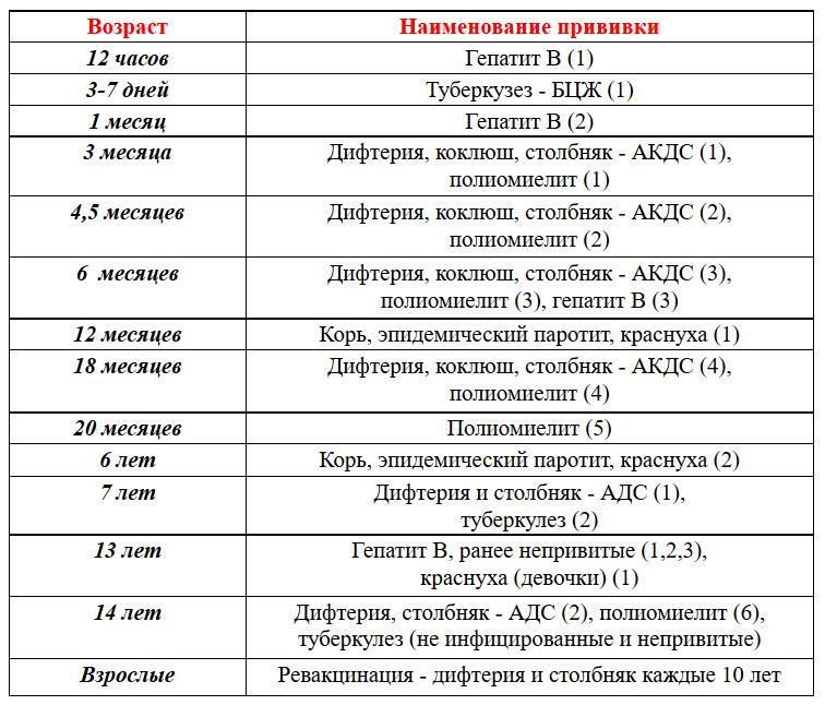 КАЛЕНДАРЬ ПРОФИЛАКТИЧЕСКИХ ПРИВИВОК РОССИИ